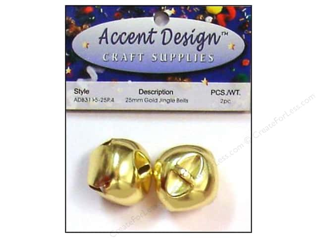 Jingle Bells by Accent Design 1 in. 2 pc. Gold (3 packages)