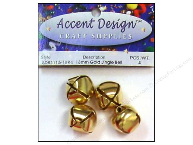 Jingle Bells by Accent Design 3/4 in. 4 pc. Gold (3 packages)