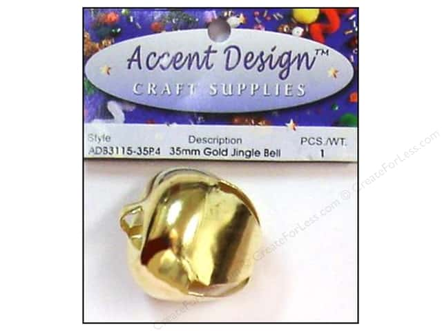 Accent Design Jingle Bell 35mm 1pc Gold (3 packages)