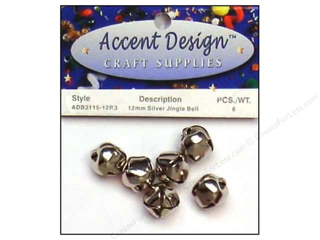 Accent Design Jingle Bell 12mm 6pc Silver (3 packages)