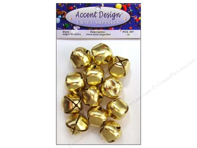 Accent Design Jingle Bell Value Pack 25mm 12pc Gold