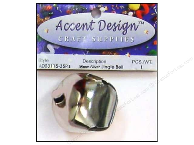 Jingle Bells by Accent Design 1 3/8 in. 1 pc. Silver (3 packages)