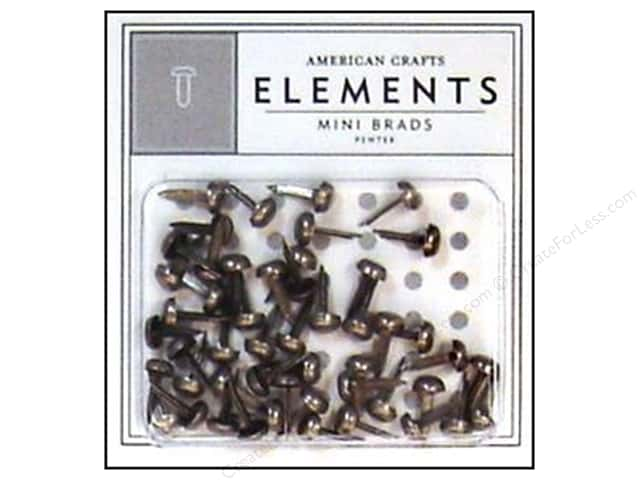 American Crafts Elements Brads Mini Pewter 50pc