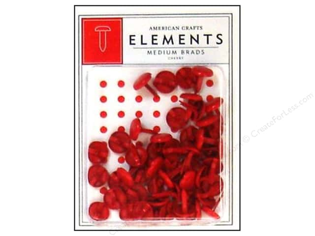 American Crafts Elements Brads Medium Cherry 50pc