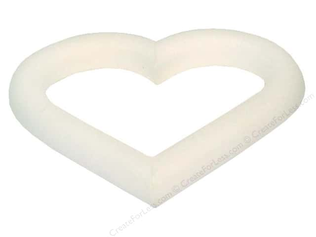 "FloraCraft Styrofoam Extruded Heart Round 6""x.75"" White"