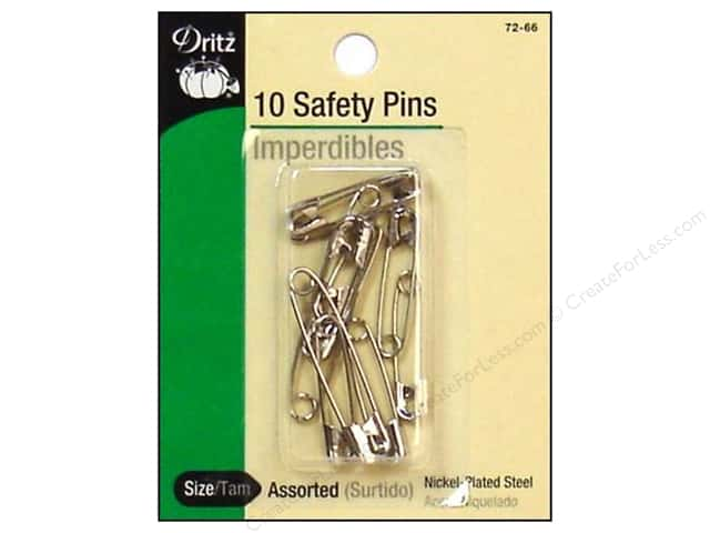 Safety Pins by Dritz Assorted Nickel 10pc.