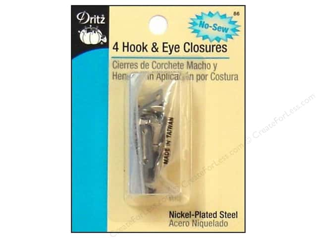 Hook and Eye Closures by Dritz Nickel 4pc.