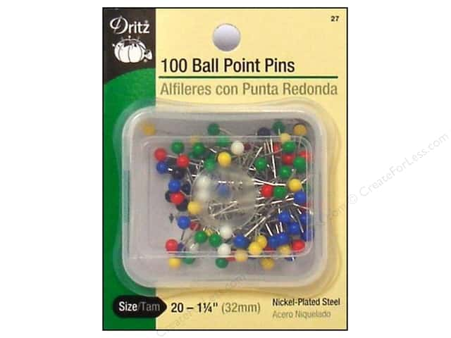 Dritz Pins Ball Point Size 20 Large Plastic Head 100pc