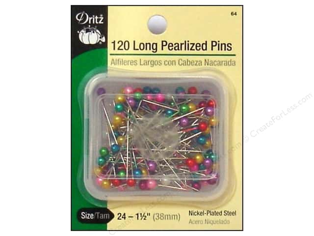 Long Pearlized Pins by Dritz Size 24 120pc.