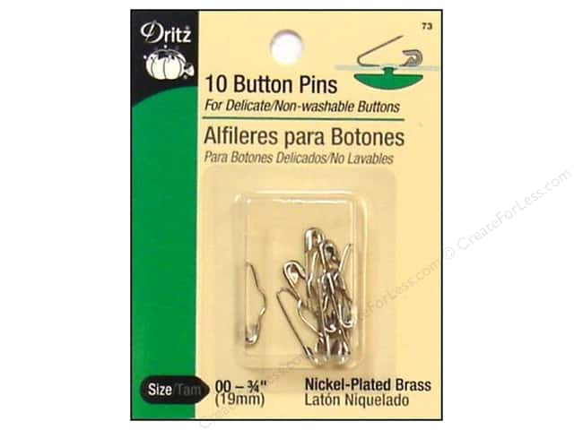 Button Pins by Dritz 3/4 in. Nickel 10pc.