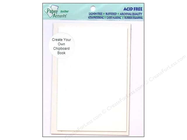 "Paper Accents Create Your Own Book Chipboard 4.5""x 6.5"" White 10 pg"