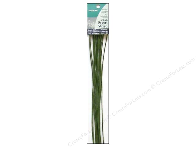 "Panacea Cloth Stem Wire 18"" 22 Ga Green 20pc"