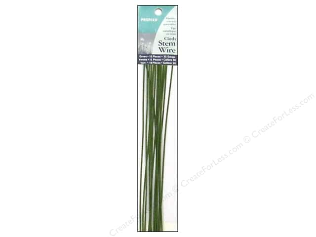 "Panacea Cloth Stem Wire 18"" 20 Ga Green 15pc"