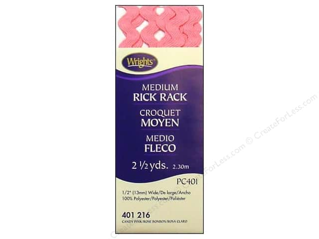 Wrights Rick Rack Medium Candy Pink 2 1/2 yd.