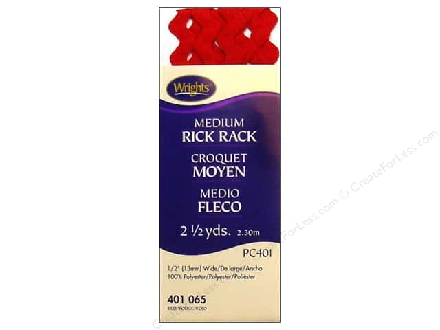 Wrights Rick Rack Medium Red 2 1/2 yd.