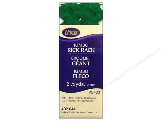 Wrights Jumbo Rick Rack Emerald 2 1/2 yd.
