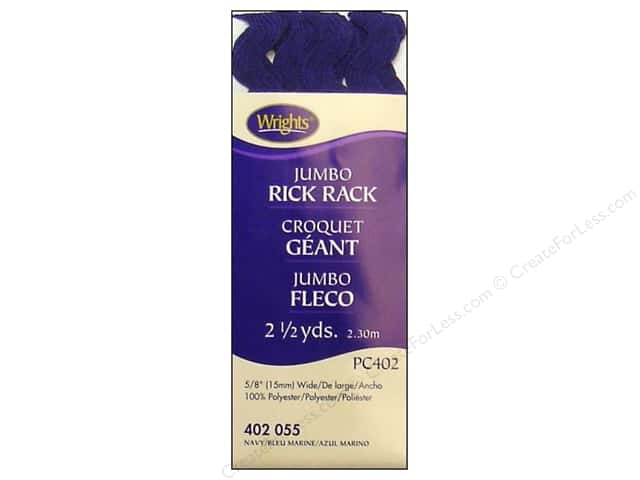 Wrights Jumbo Rick Rack Navy 2 1/2 yd.