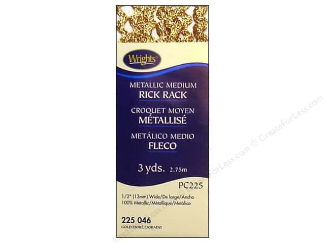 Wrights Rick Rack Medium 2 1/2 yd. Metallic Gold