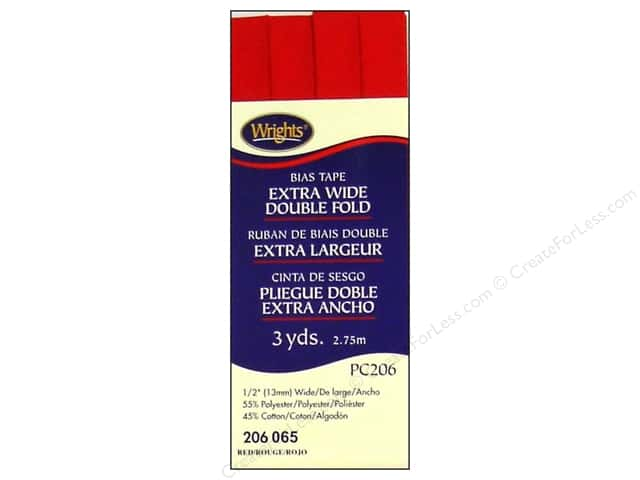 Wrights Extra Wide Double Fold Bias Tape 3 yd. Red