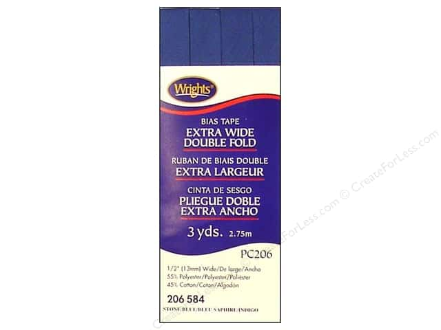 Wrights Extra Wide Double Fold Bias Tape Stone Blue 3 yd.