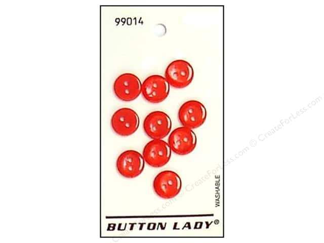 JHB Button Lady Buttons 1/2 in. Red #99014 6 pc.
