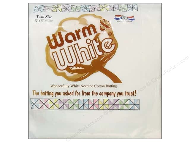 "Warm & White Cotton Batting Twin 70""x 90"" Plastic Wrap"