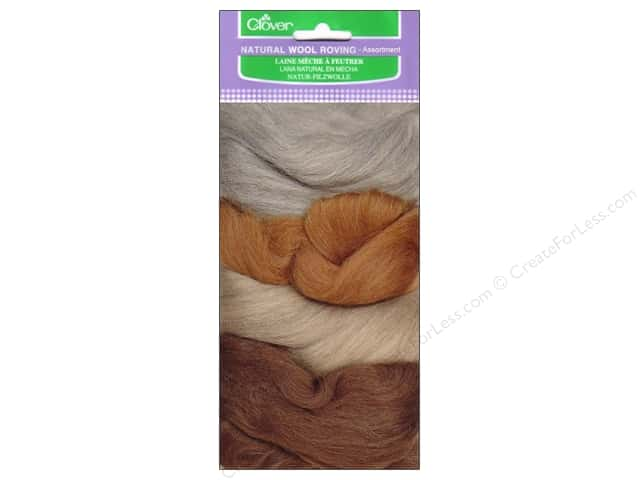 Clover Natural Wool Roving Assorted Ash/Oatmeal/Caramel/Chocolate