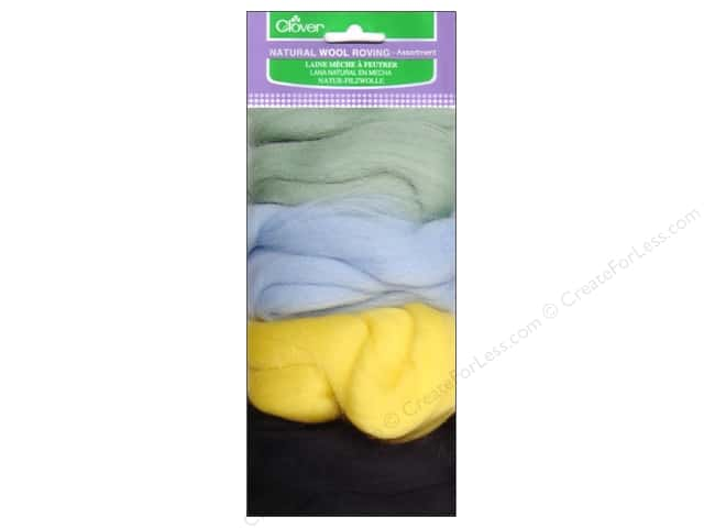 Clover Natural Wool Roving Assorted Mint/Light Yellow/Light Blue/Black