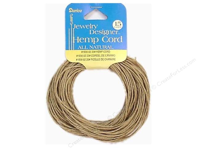 Darice Jewelry Designer Cord Hemp 20# Natural 15yd