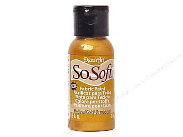DecoArt SoSoft Fabric Paint 1.15 oz. Medieval Gold