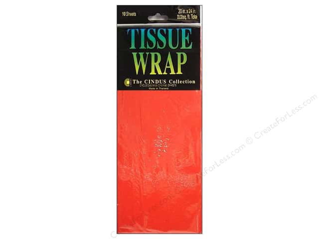 "Cindus Tissue Wrap 20""x 20"" Solid Flame Red 10pc"