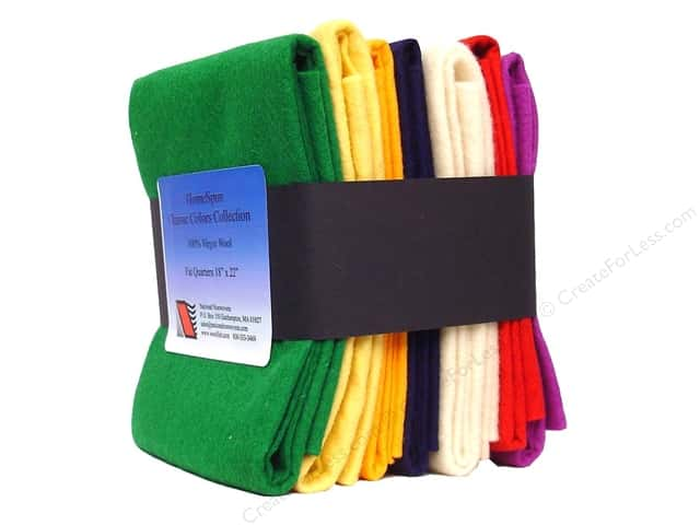 National Nonwovens Fat Quarter Pack 100% WoolFelt Classic Colors Collection