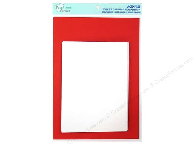 "Paper Accents Card & Envelopes 5""x 7"" Dark Red/White 8pc"