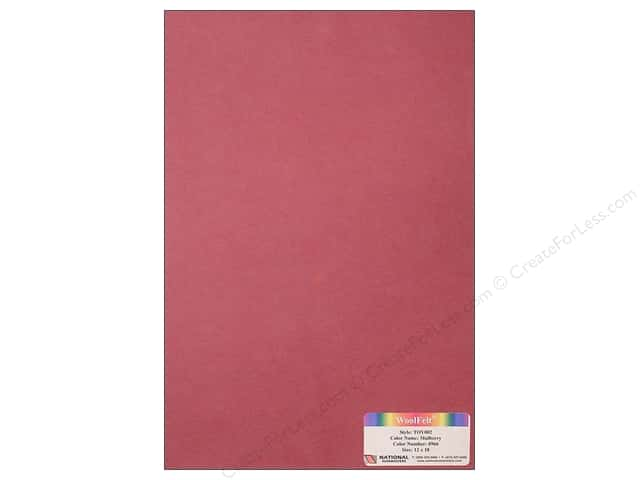 "National Nonwovens WoolFelt 12""x 18"" 35% Mulberry (12 sheets)"