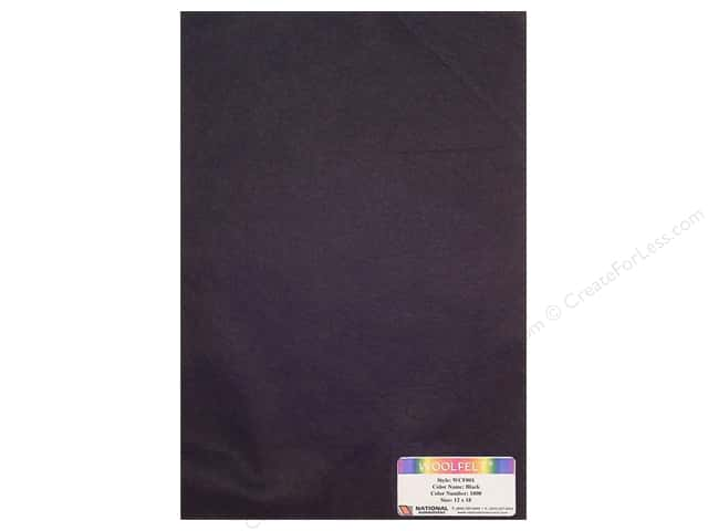 National Nonwovens WoolFelt 12 x 18 in. 35% Black (10 sheets)