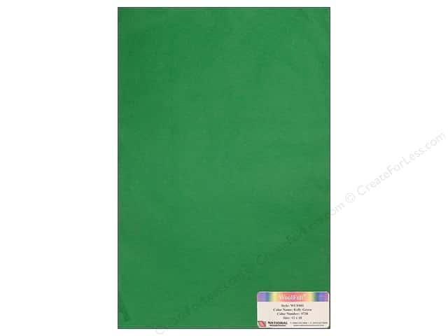 National Nonwovens WoolFelt 12 x 18 in. 20% Kelly Green (12 sheets)