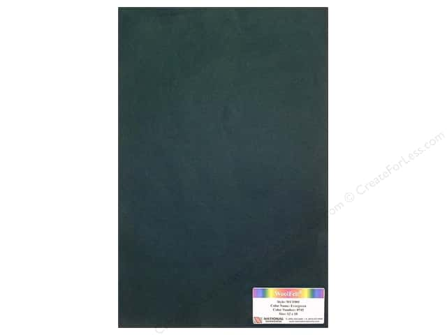 "National Nonwovens WoolFelt 12""x 18"" 20% Evergreen (12 sheets)"