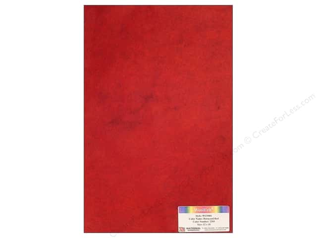 "National Nonwovens WoolFelt 12""x 18"" 20% Barnyard Red (12 sheets)"