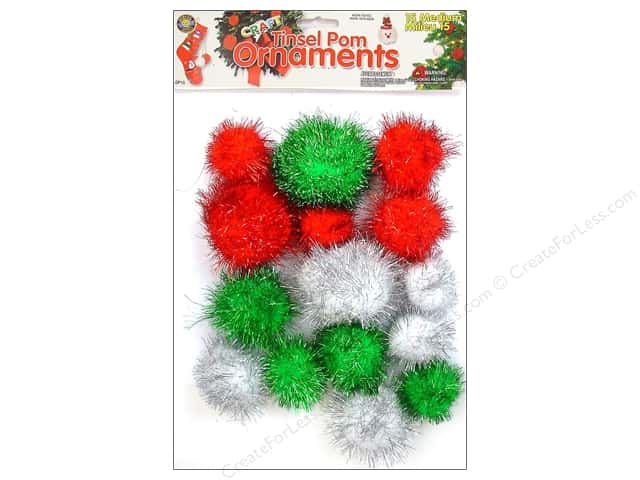 Pepperell Tinsel Pom Ornaments Christmas 15pc