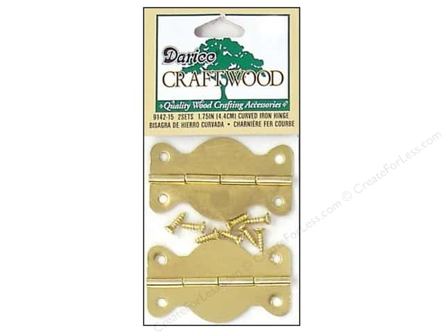 "Darice Hardware Craftwood Hinge 1.75"" Brass 2 sets"