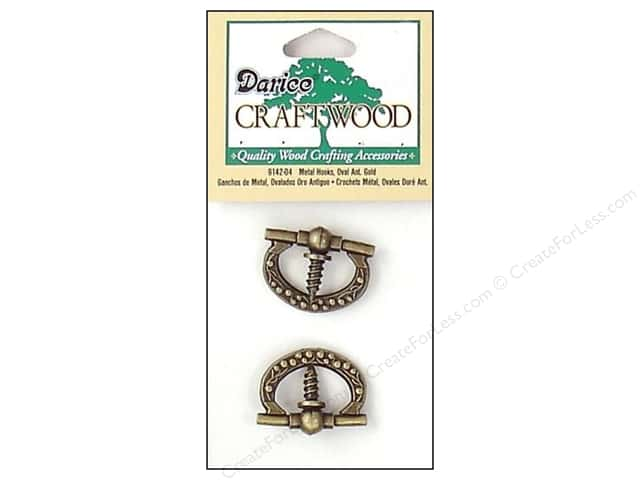 Darice Metal Hooks 7/8 in. Antique Gold Oval 2 pc.