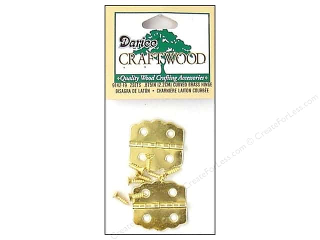 "Darice Hardware Craftwood Hinge 7/8"" Brass Curved 2 sets"