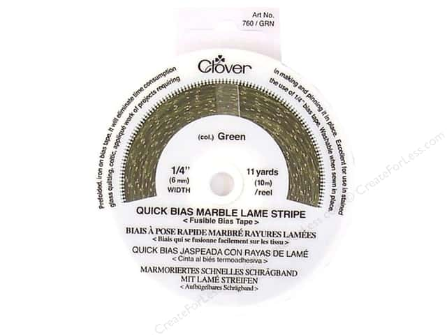 "Clover Fusible Quick Bias 1/4"" Marble Lame Stripe Green 11yd"