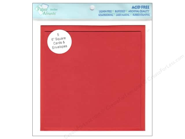"Paper Accents Card & Envelopes 6""x 6"" Dark Red 5pc"