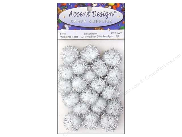 Pom Pom by Accent Design 1/2 in. White/Silver Glitter 20pc.