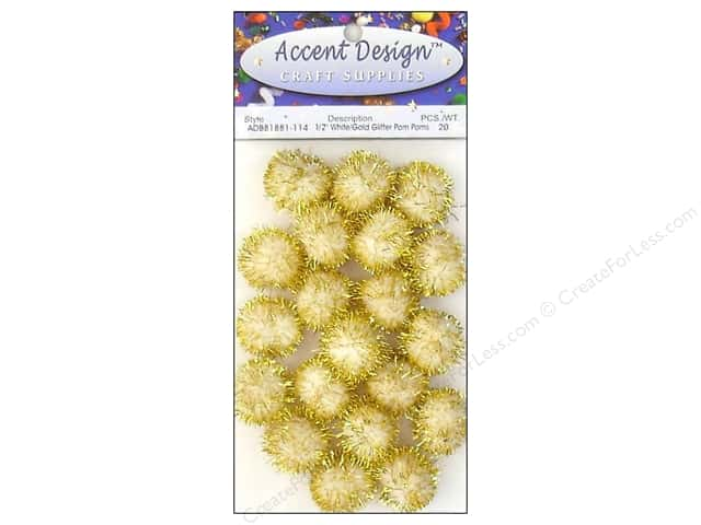 Pom Pom by Accent Design 1/2 in. White/Gold Glitter 20pc.