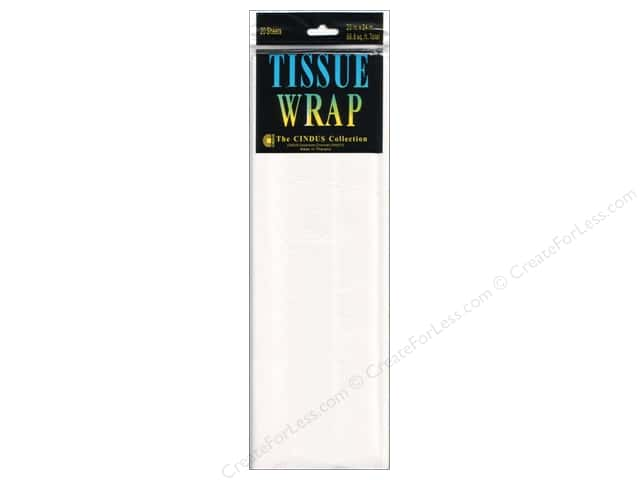 "Cindus Tissue Wrap 20""x 20"" Long Solid White 20pc"
