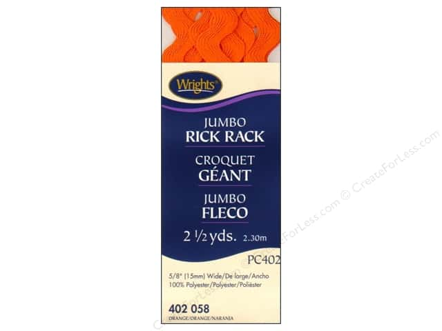 Wrights Jumbo Rick Rack Orange 2 1/2 yd.