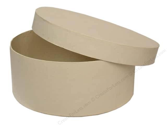 Paper Mache Round Box 7 1/2 in. Vanilla by Craft Pedlars (12 pieces)