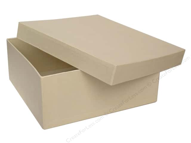 Paper Mache Square Box 7 1/2 in. Vanilla by Craft Pedlars (12 pieces)